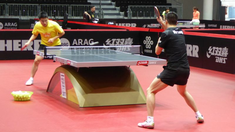 Ma Long beim Trainig